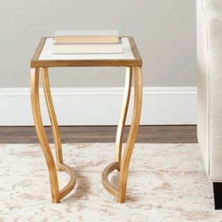 Safavieh Hidden Treasures White Granite Brass Accent Table