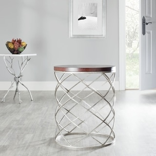 Safavieh Hidden Treasures Wood Top Silver Accent Table
