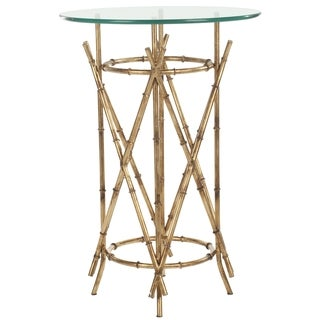 Safavieh Hidden Treasures Glass Top Brass Accent Table