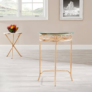 Safavieh Hidden Treasures Glass-Top Brass-Finished Accent Table