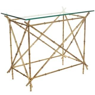 Safavieh Hidden Treasures Glass Top Brass Accent Table