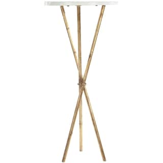 Safavieh Hidden Treasures White Granite Brass Accent End Table