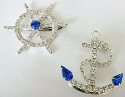 Detti Originals 'Cruise' Anchor & Wheel Crystal Pins
