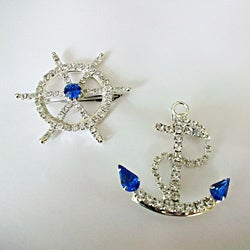 Detti Originals 'Cruise' Anchor & Wheel Crystal Pins