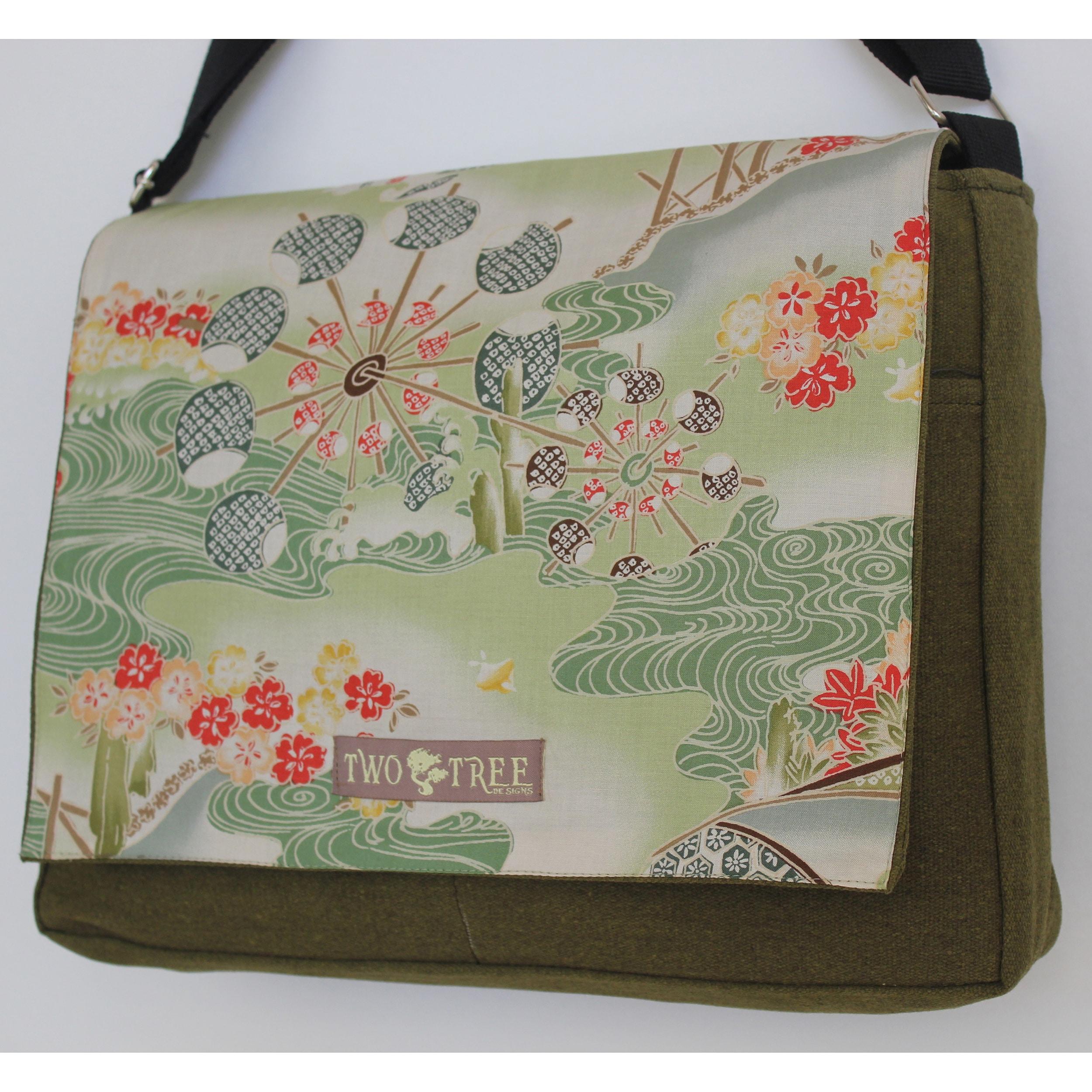 Two Tree Designs Handmade Medium Green Japanese Woodblock Messenger Bag