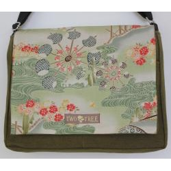 Two Tree Designs Handmade Medium Green Japanese Woodblock Messenger Bag