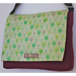 Two Tree Designs Tiny Green Forest Trees Handmade Messenger Bag