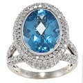 14k White Gold Blue Topaz and 2 1/10ct TDW Diamond Ring (G-H, SI1-SI2)