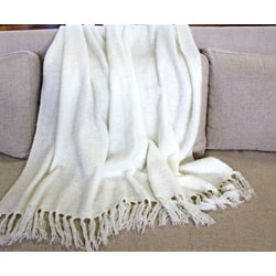Liz Cream Acrylic Mohair Throw
