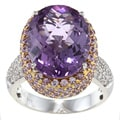 14k Gold Amethyst, Pink Sapphire and 3/8ct TDW Diamond Ring (H-I, I1-I2)