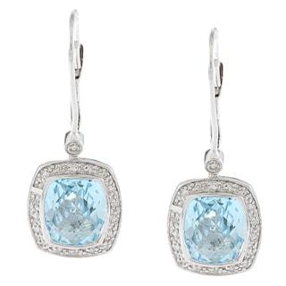 14k White Gold Blue Topaz and 1/5ct TDW Diamond Earrings (G-H, I1-I2)