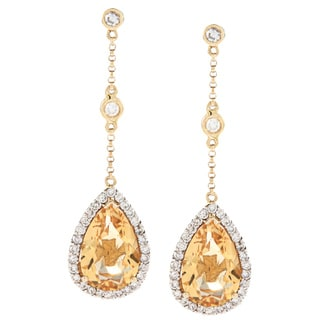 14k Yellow Gold Citrine and 3/4ct TDW Diamond Earrings (H-I, SI1-SI2)