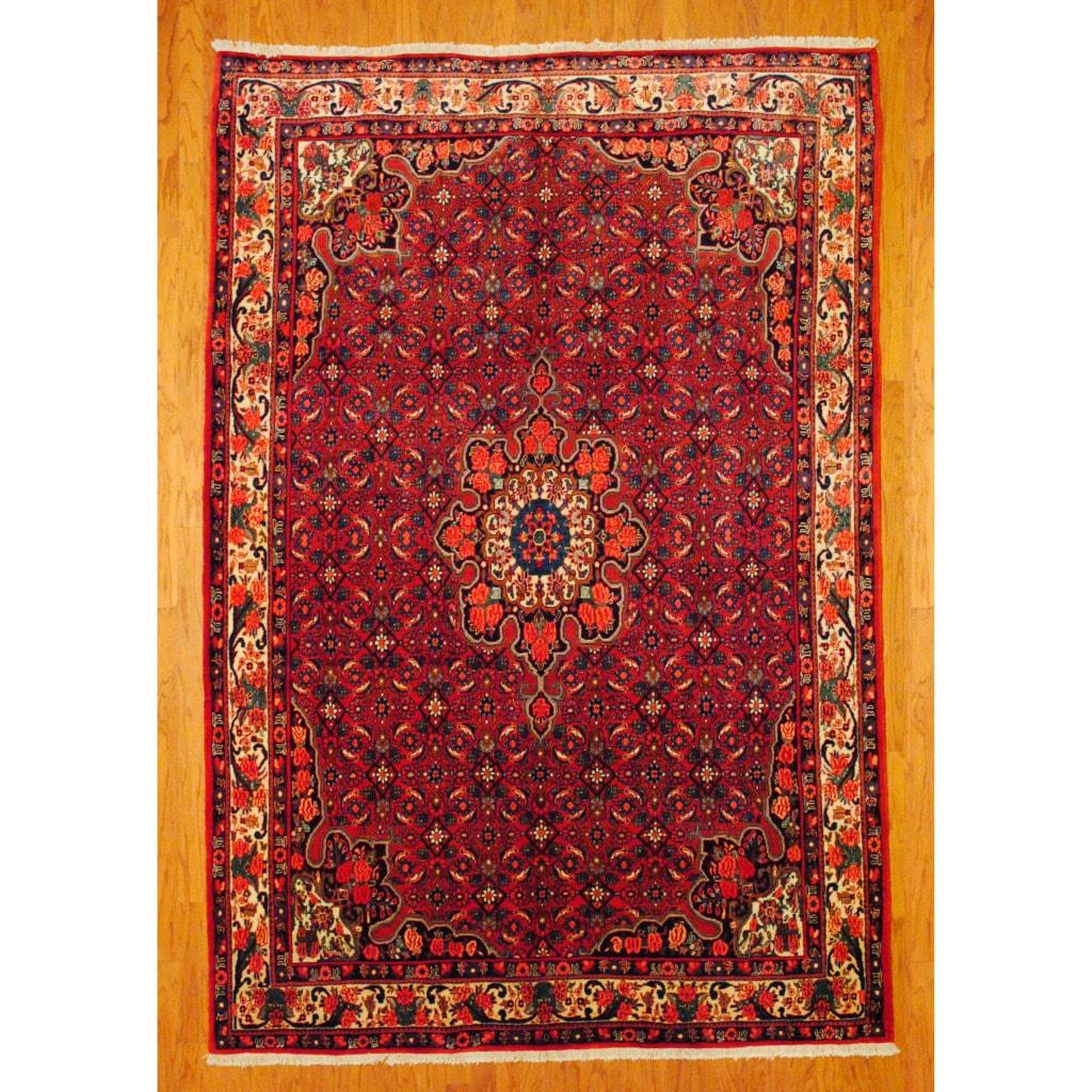 Persian Hand-knotted Bidjar Red/ Ivory Wool Rug (7' x 10'3)