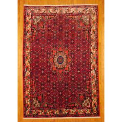 Persian Hand-knotted Bidjar Red/ Ivory Wool Rug (7' x 10'3)