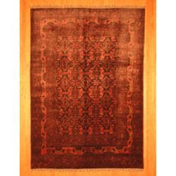 Afghan Hand-knotted Tribal Khal Mohammadi Rose/ Black Wool Rug (6'8 x 9'5)