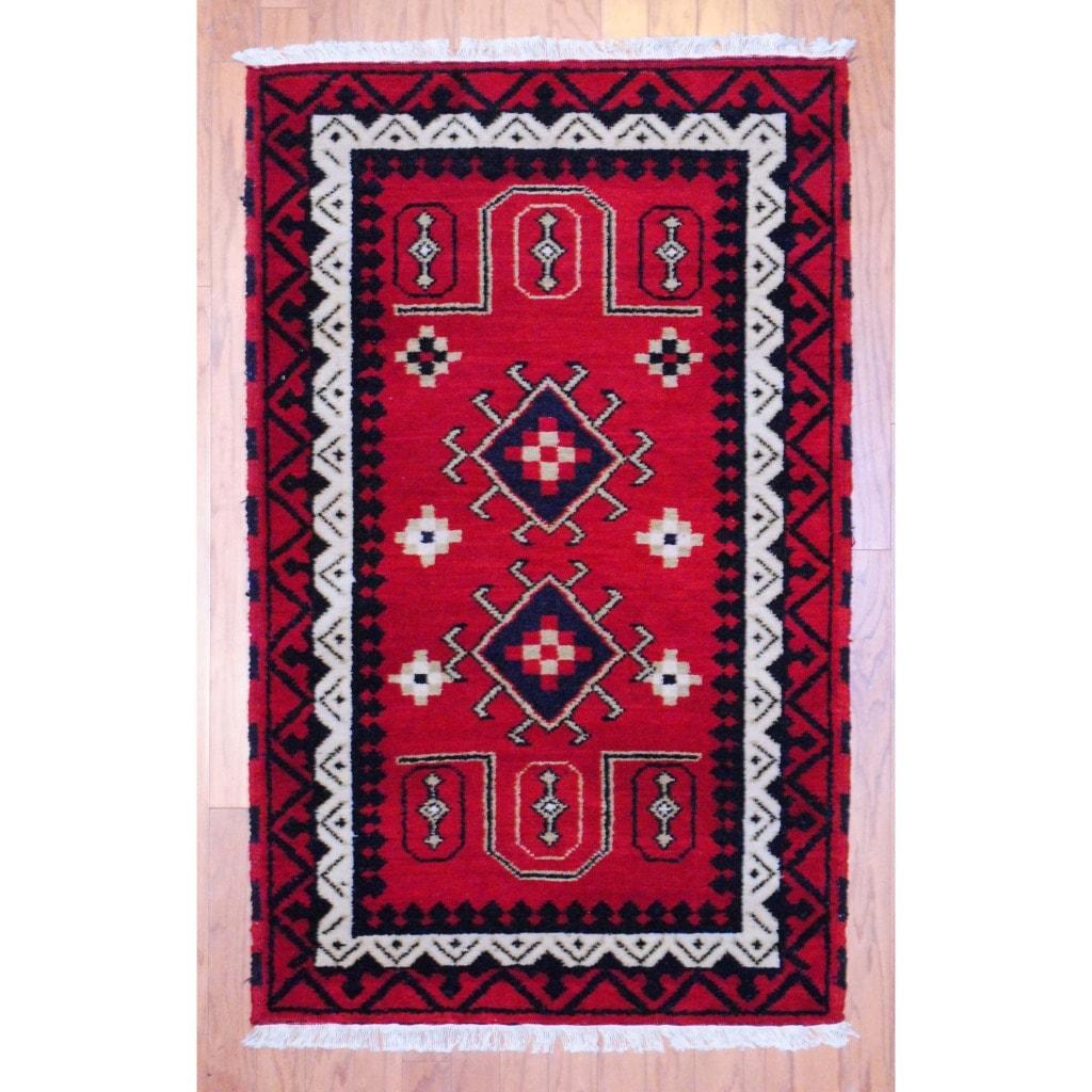 Indo Hand-Knotted Kazak Red/Ivory Geometric Wool Rug (3' x 5')