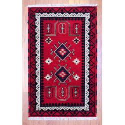 Indo Hand-Knotted Kazak Red/Ivory Geometric Wool Rug (3' x 5')