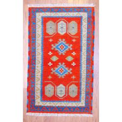 Indo Hand-Knotted Kazak Red/Ivory Traditional Geometric Pattern Wool Rug (3' x 5')