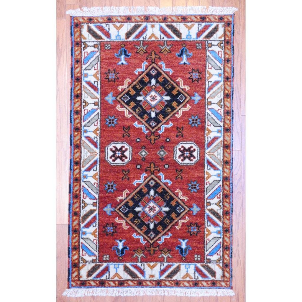 Indo Hand-Knotted Kazak Brown/Ivory Geometric Wool Rug (3' x 5')