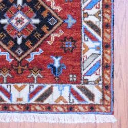 Indo Hand-Knotted Kazak Brown/Ivory Geometric Wool Rug (3' x 5')