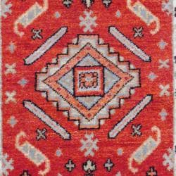 Indo Traditional Hand-Knotted Kazak Rust/Ivory Wool Rug (3' x 5')