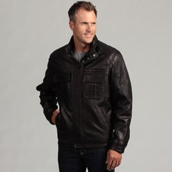 Izod Men's Lambskin Leather Hidden Hood Jacket