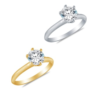 Alyssa Jewels 14k Gold Round 1.9 mm Cubic Zirconia Engagement-style Ring