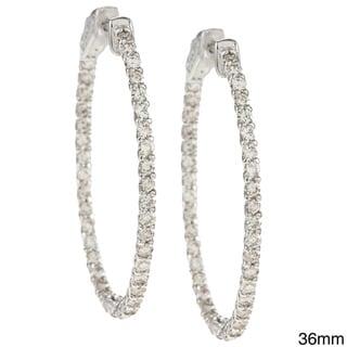 Auriya  14k Gold 2 1/2ct TDW Diamond Oval Trellis-style Hoop Earrings (J-K, I1-I2)