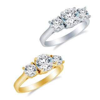 Alyssa Jewels 14k Gold Round Cubic Zirconia Engagement-style High-polish Ring