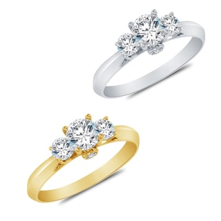 Alyssa Jewels 14k Gold Prong-set Round Cubic Zirconia Engagement-style Ring