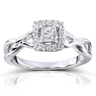 Annello 14k Gold 1/3ct TDW Diamond Halo Engagement Ring (H-I, I1-I2)