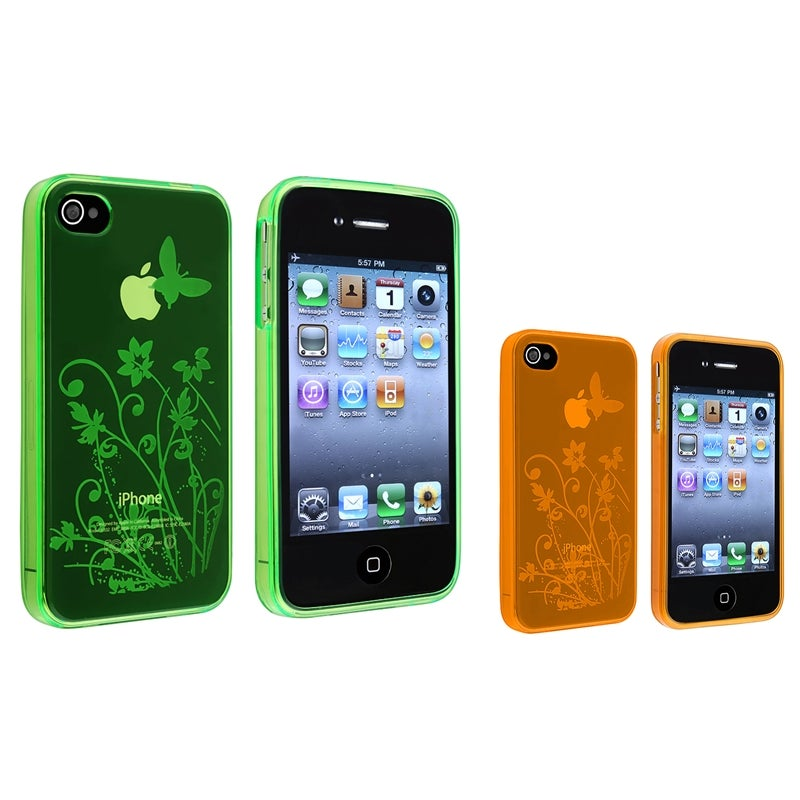 Green/ Orange Flower Butterfly TPU Skin Case for Apple iPhone 4/ 4S (Set of 2)