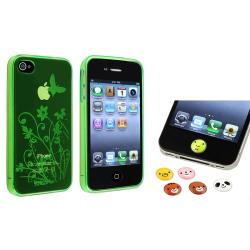 Green TPU Case/ Animal Home Button Stickers for Apple iPhone 4/ 4S