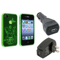 Green TPU Case/Travel Charger/Car Charger Bundle for Apple iPhone 4/4S