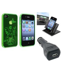 Green TPU Case/Swivel Phone Holder/Travel Charger for Apple iPhone 4/4S