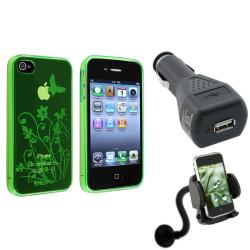 Green TPU Case/Phone Holder Mount/Car Charger Bundle for Apple iPhone 4/4S