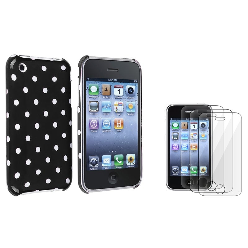 Black with White Dot Case/ Screen Protector for Apple iPhone 3G/ 3GS
