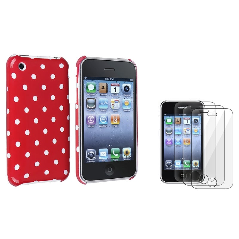 Red with White Dot Case/ Screen Protector for Apple iPhone 3G/ 3GS