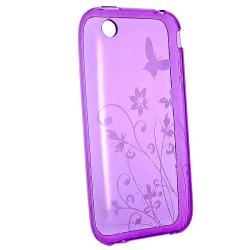 Purple Butterfly with Flower Case/ Protector for Apple iPhone 3G/ 3GS