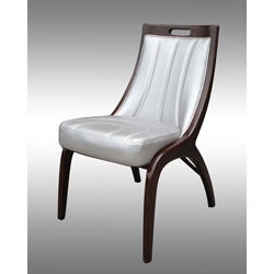 Barrel Silver Leather Dining Chairs (Set of 2)