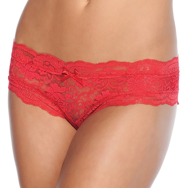 Coquette Red Lace Crotchless Panties