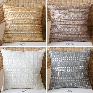 Beaded Mother of Pearl/ Sequin Pillow Pair (Set of 2)