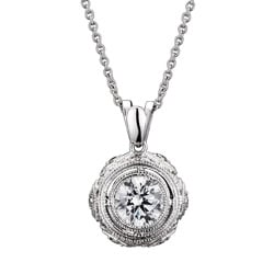 Collette Z Sterling Silver Round-cut Cubic Zirconia Art Deco Necklace