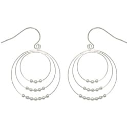 CGC Sterling Silver Graduated Hoop and Bead Dangle Earrings