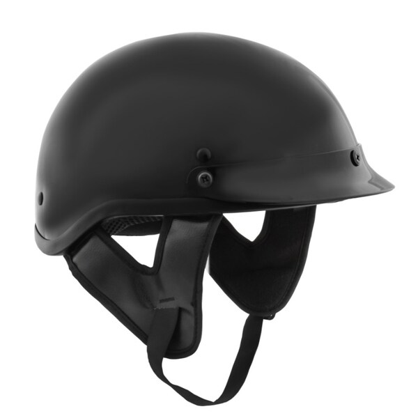 Fuel Helmets Gloss Black DOT-approved Half Helmet with Visor