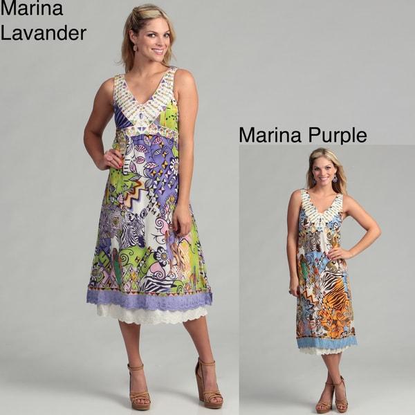 Ebene Women's Abstract Print Silk Sleeveless Dress