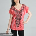 Tabeez Women's Rhinestone Scroll Boxy Top