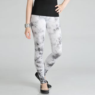 Tabeez Women's White/ Grey Tie-dye Leggings