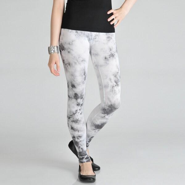 Tabeez Women's White/ Grey Tie-dye Leggings