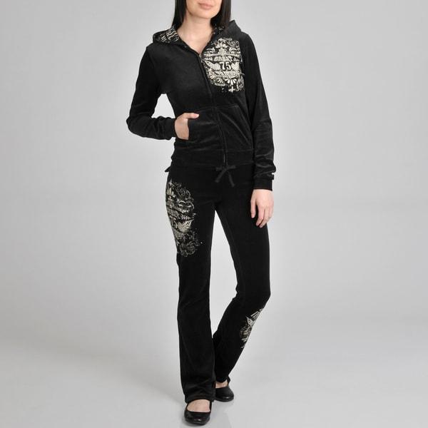 Tabeez Women's 'Triumph' Black Velour Track Suit